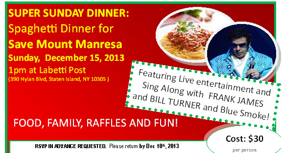 Super Sunday – Spaghetti Dinner – Sunday December 15 at 1pm